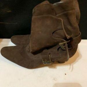 Manolo Blahnik Shoes - Authentic Manolo Blahnik Brown Suede Booties
